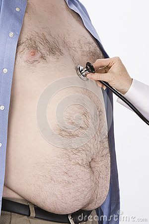 Doctor s Hand Examining Obese Man