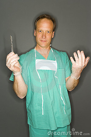 Doctor with scalpel