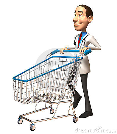 Doctor with a shopping cart