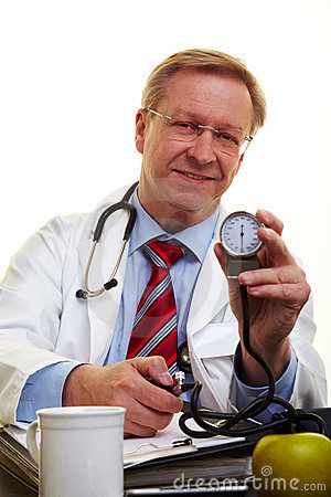 Doctor showing blood pressure meter