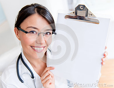 Doctor showing a prescription