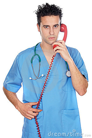 Doctor speaking on the phone