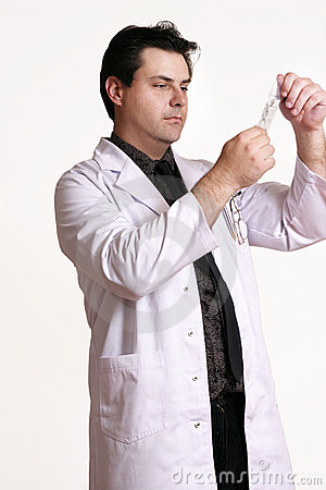 Doctor with sterile solution