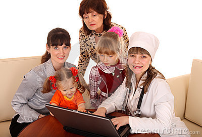 Doctor with stethoscope and family.