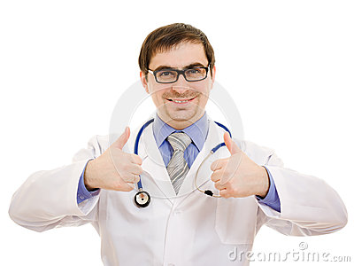 A doctor with a stethoscope and glasses