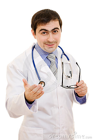 A doctor with a stethoscope and glasses speaks