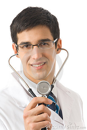 Doctor with stethoscope, isolated