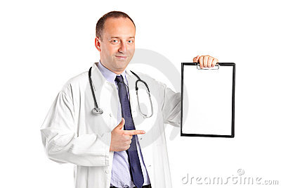 Doctor with stethoscope pointing on a clipboard