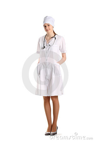 Doctor With Stethoscope Posing Over The White
