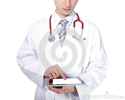 Doctor with stethoscope showing blank tablet pc