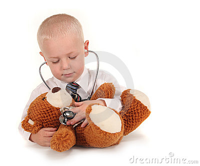 Doctor With Stethoscope and Teddy Bear as a Patien