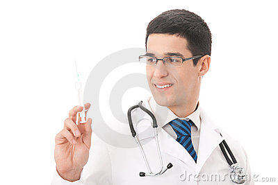 Doctor with syringe, isolated