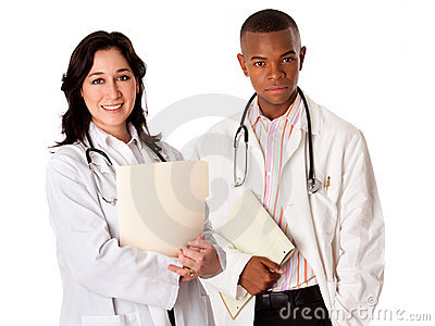 Doctor team with patient file dossier