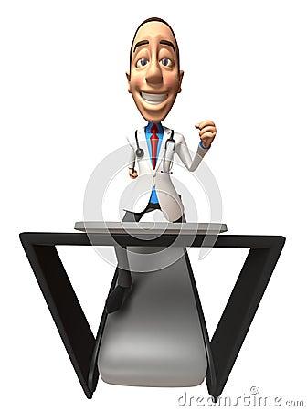 Doctor on a treadmill