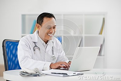 Doctor typing