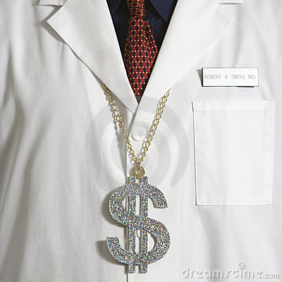 Free Doctor Wearing Dollar Sign. Stock Photo - 2425900