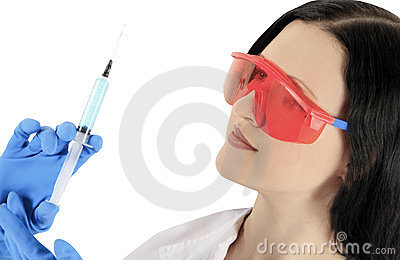 Doctor wearing a glasses with syringe