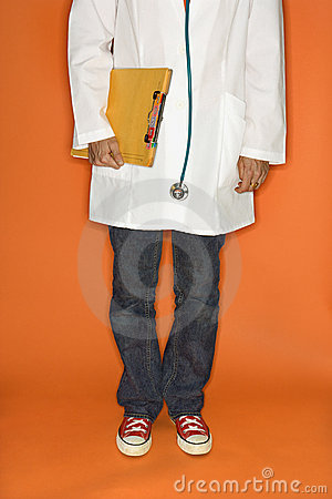 Doctor wearing jeans and sneakers.