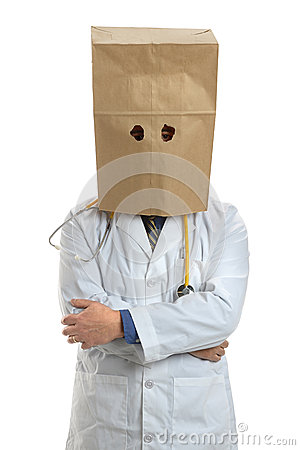 Free Doctor Wearing Paper Bag Over Head Royalty Free Stock Photos - 39276818
