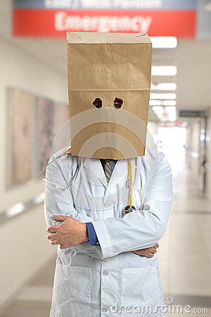 Free Doctor Wearing Paper Bag Over Head In Hospital Stock Images - 40165564