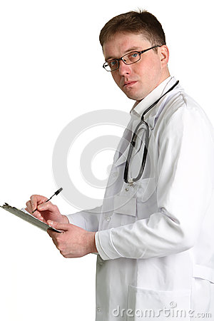 Doctor whit a clipboard  isolated on white