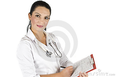 Doctor woman with clipboard