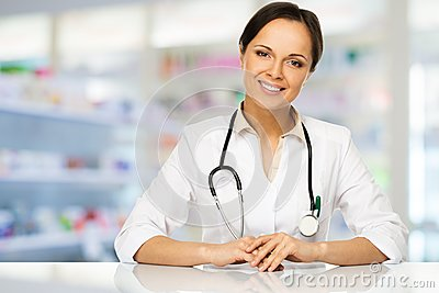 Doctor woman in drug store