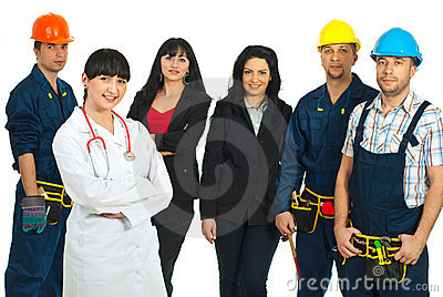 Doctor woman in front of different people