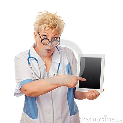 Doctor woman holding tablet computer