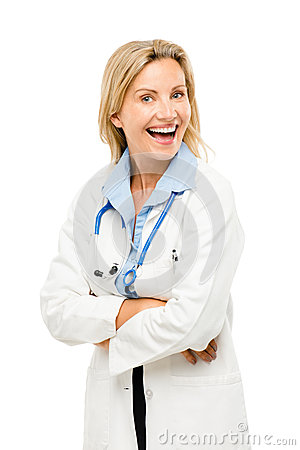 Doctor woman nurse friendly trusted happy isolated on white back