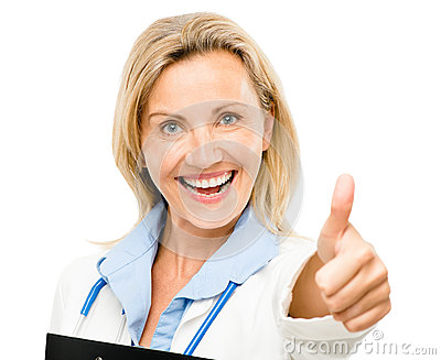 Doctor woman nurse friendly trusted thumbs up isolated on white