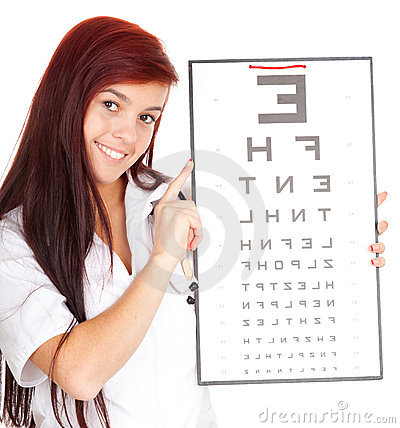 Doctor woman with optometry chart