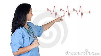 Doctor woman pointing to a electrocardiogram