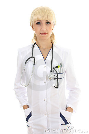 Doctor woman with stethocsope over white