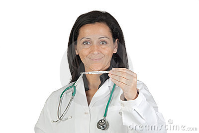 Doctor woman with a thermometer