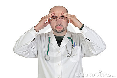 Doctor with worried gesture