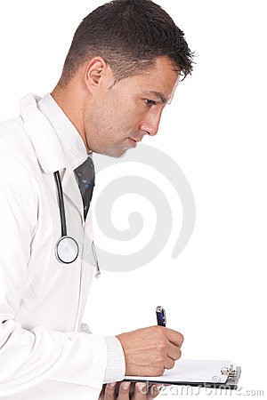 Doctor writing notes and prescriptions