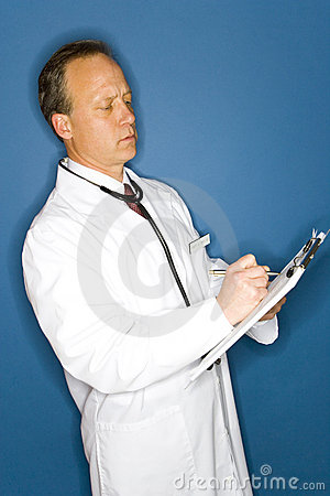 Free Doctor Writing On Chart Royalty Free Stock Photo - 5646125
