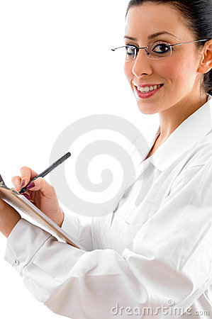 Doctor with writing pad and pen