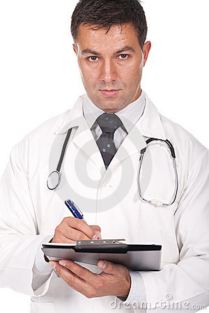 Doctor writing prescriptions