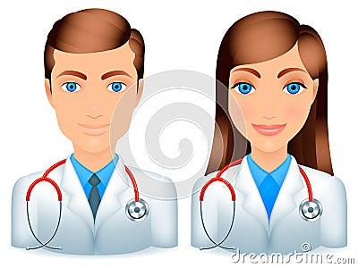 Doctores de sexo masculino y de sexo femenino.