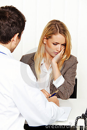 Free Doctors Call. Patient And Doctor Talking To Doctor Stock Photography - 18610852