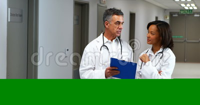Doctors having discussion over clipboard in corridor. Of hospital stock video footage