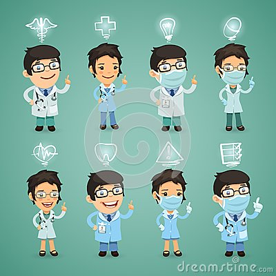 Doctors with Icons Set