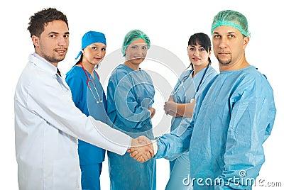 Doctors men give handshake