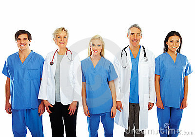 Doctors and nurses standing in a line