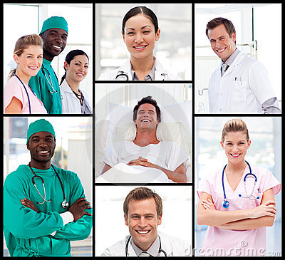 Doctors with a patient smiling at the camera