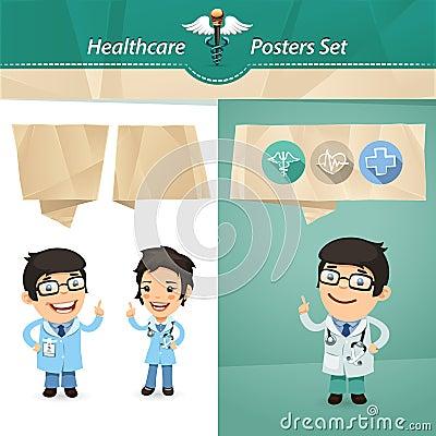 Doctors with Speech Bubbles Set