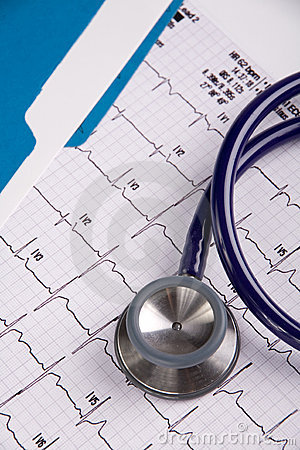 Doctors stethoscope and EKG