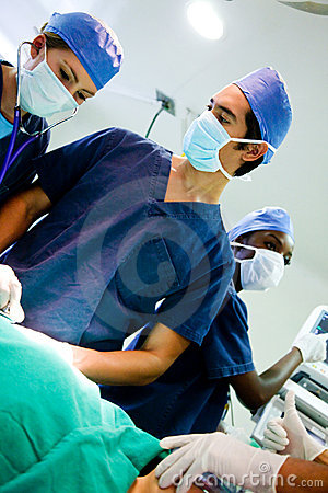 Doctors in a surgery